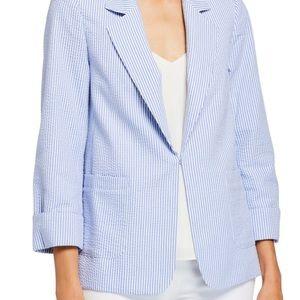 Tahari ASL Seersucker Jacket in blue & white NWT